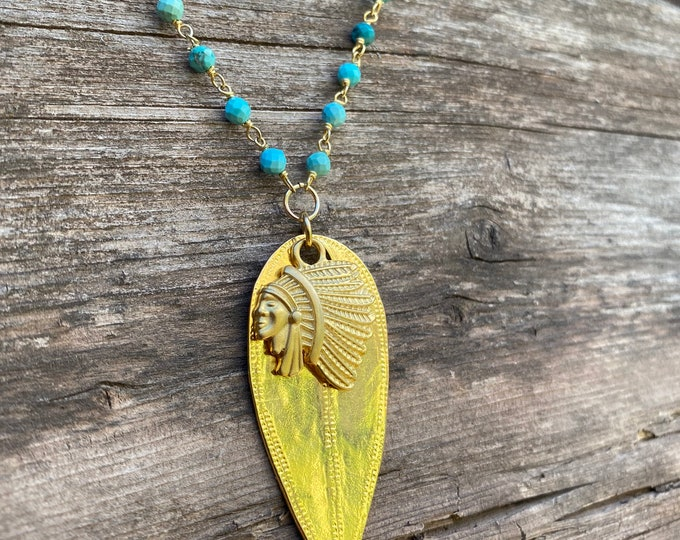 Southwest Shield Necklace with long Turquoise Chain