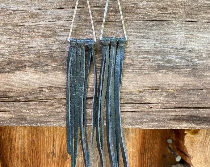 Triangle Green Leather Fringe Earrings