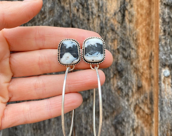 White Buffalo Turquoise Sterling Silver Hoop Earrings