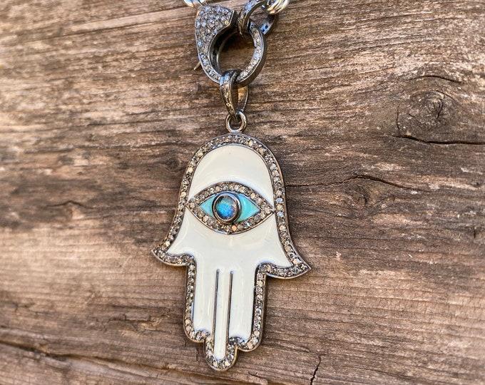 Diamond & Sterling Hamsa Pendant with Diamond clasp chain