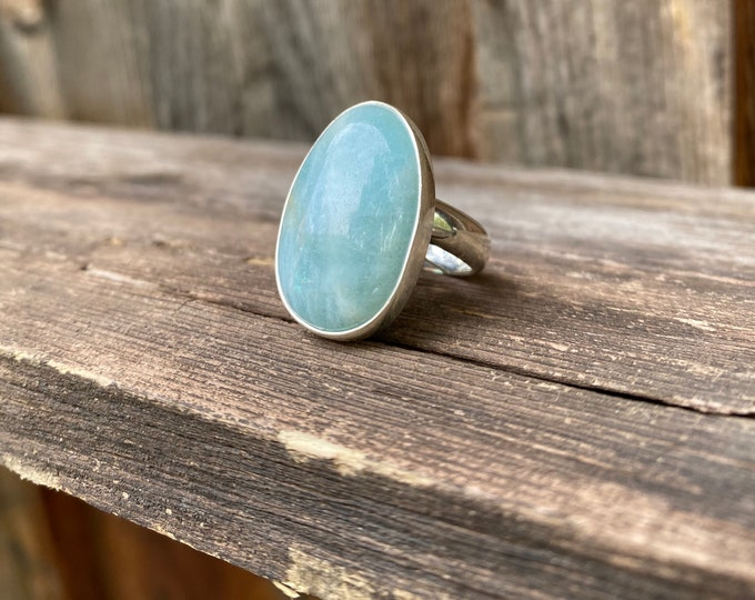 Sterling Silver & Frosty Aquamarine Adjustable Ring