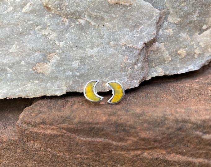 Tiny Moon Stud Earrings in Bumble bee Jasper