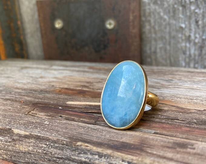 Frosty Aquamarine & Gold Alchemia Adjustable Ring