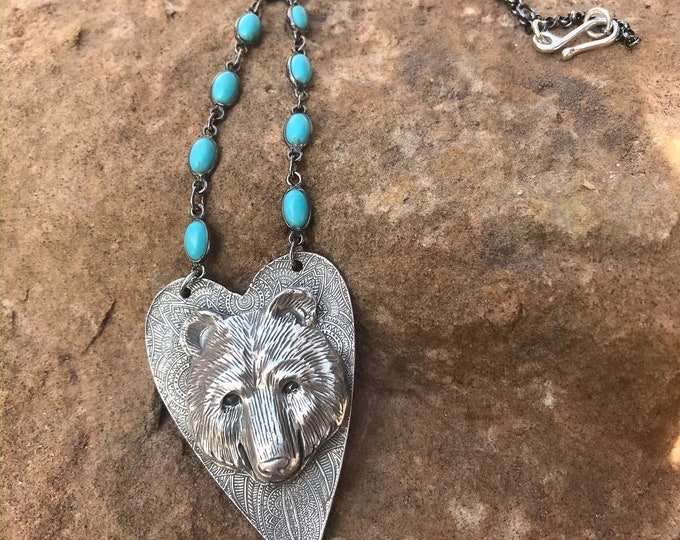 Bear Totem Necklace with bezeled Turquoise Chain in Sterling Silver