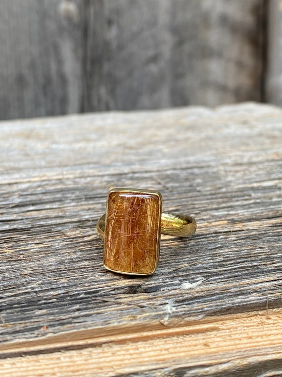 Stunning Rutilated Quartz Adjustable ring