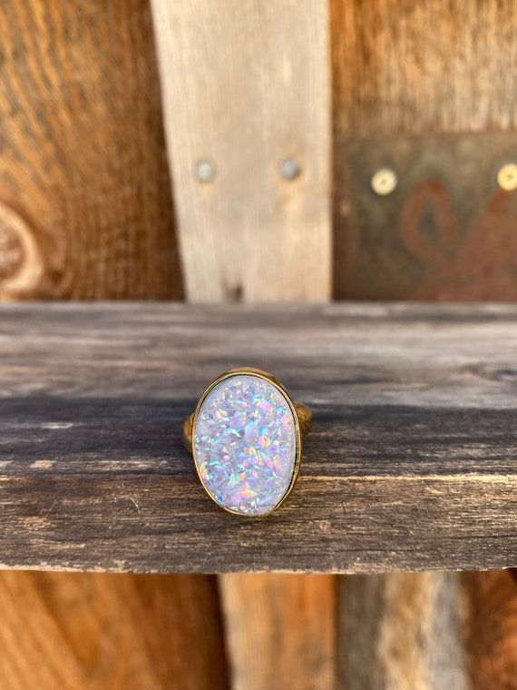 Druzy & Gold Alchemia Adjustable Ring
