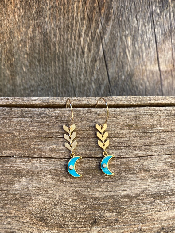 Teal Moon Enamel Chevron  Earring