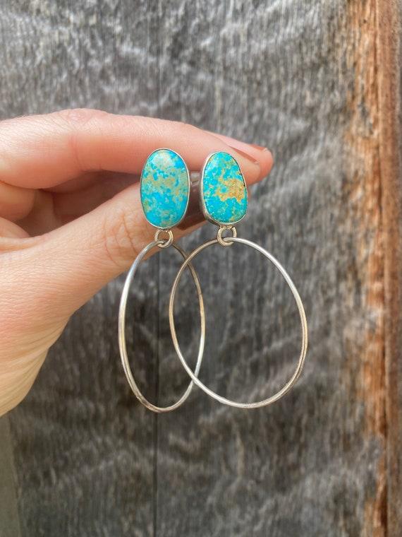 Sterling silver & Sonoran Gold Turquoise hoop Earrings
