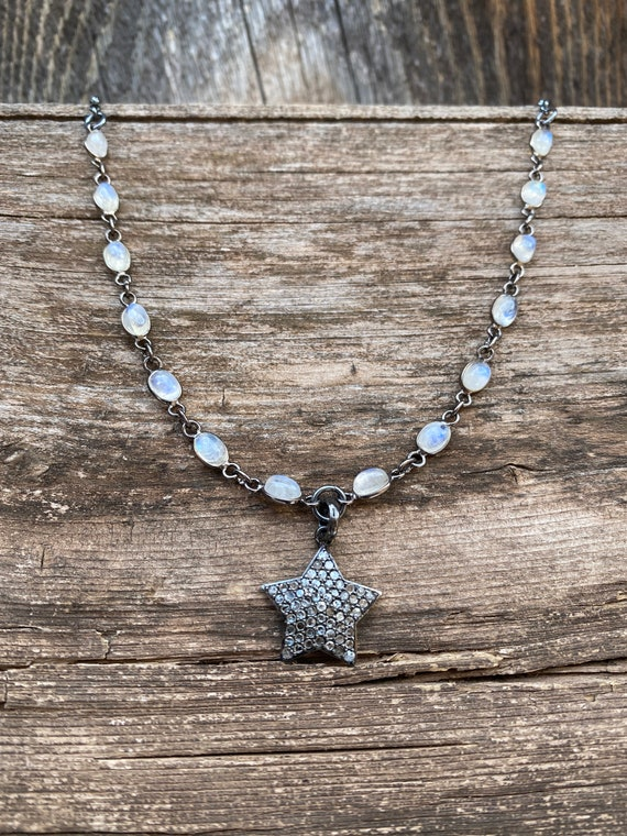 Pavé diamond & Sterling silver heart on rainbow moonstone chain.