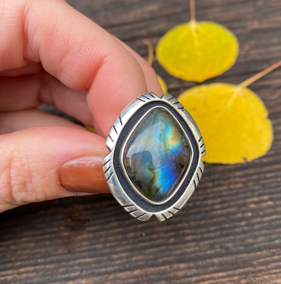 Sterling Silver & Labradorite Ring with adjustable band