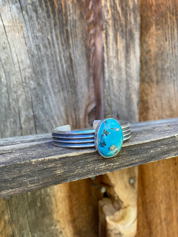 Heavy White Water turquoise cuff bracelet