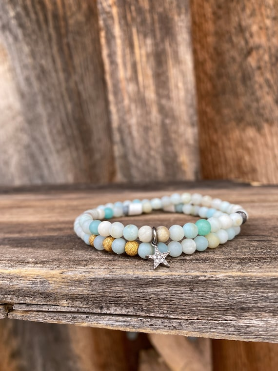 Matte Amazonite stretch bracelet stack with diamond star and gold fill beads
