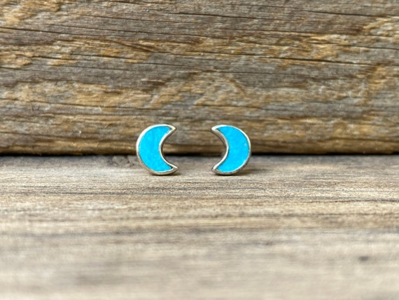 Tiny Moon Stud Earrings in Turquoise
