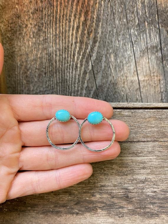 Arizona Turquoise & Sterling Silver Hoop Studs
