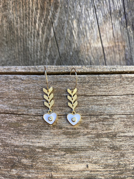 White Heart Enamel Chevron  Earring
