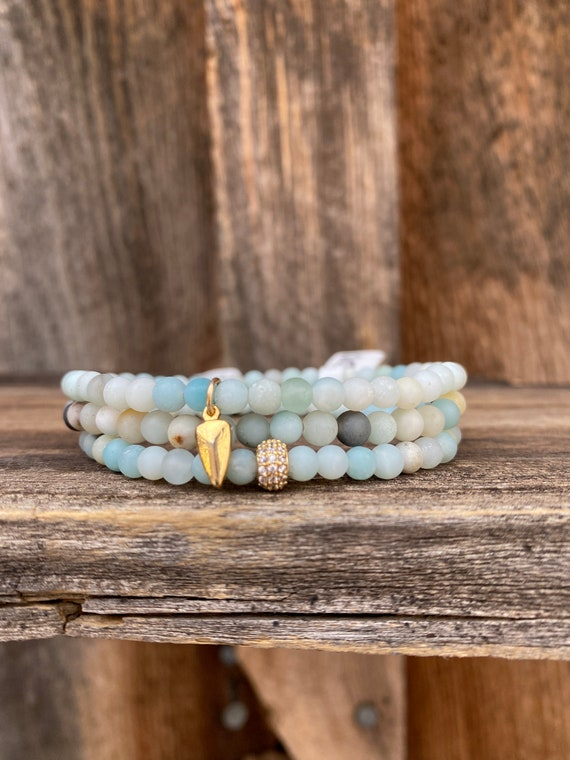 Matte Amazonite stretch bracelet stack with diamond and gold fill details