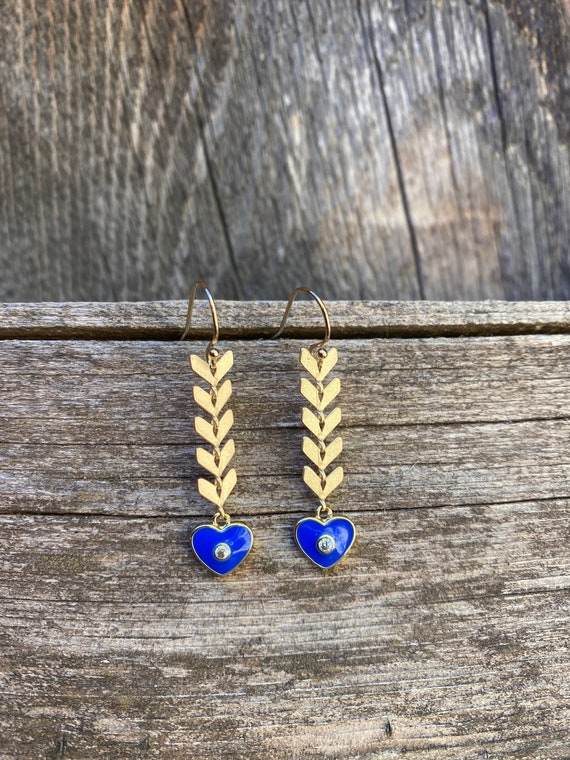 Blue Heart Enamel Chevron  Earring