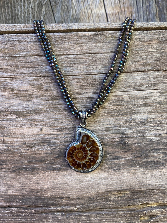 Diamond and Ammonite fossil choker