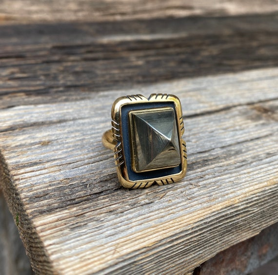 Pyrite Ring with adjustable band