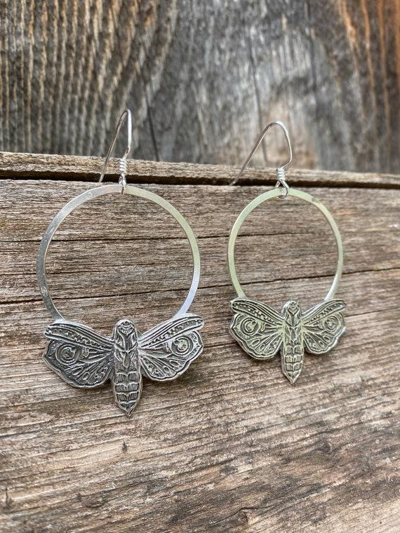 Sterling Silver Moth Hoop Earrings