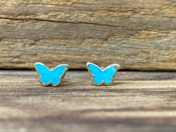 Tiny Butterfly Stud Earrings in Turquoise