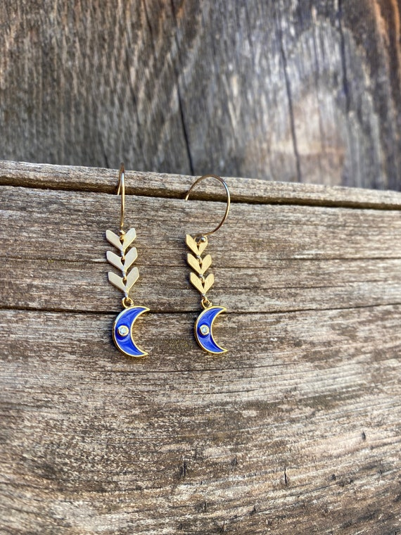 Blue Moon  Enamel Chevron  Earring