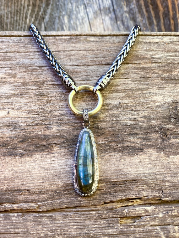 Diamond labradorite pendant on sterling chain with Interchangeable gold fill clasp
