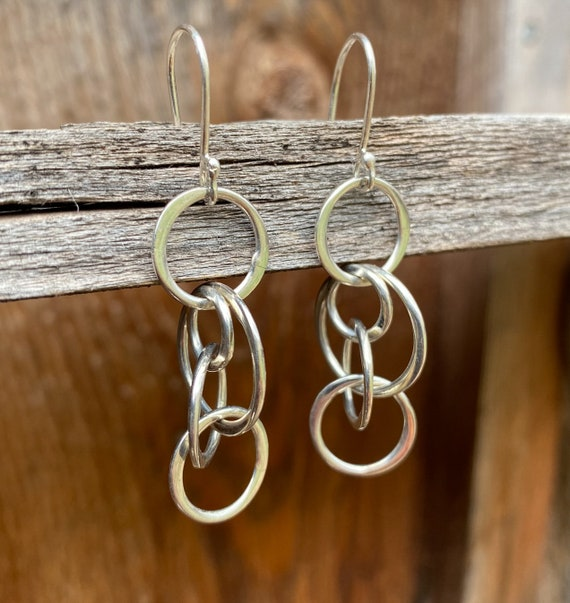 Sterling Silver Multi- Hoop Drop Earrings