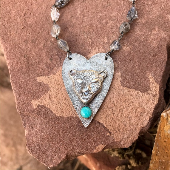 Panther Totem Necklace with Herkimer Diamond Chain