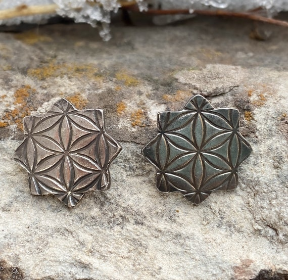Sterling Silver Flower of Life Stud Earrings