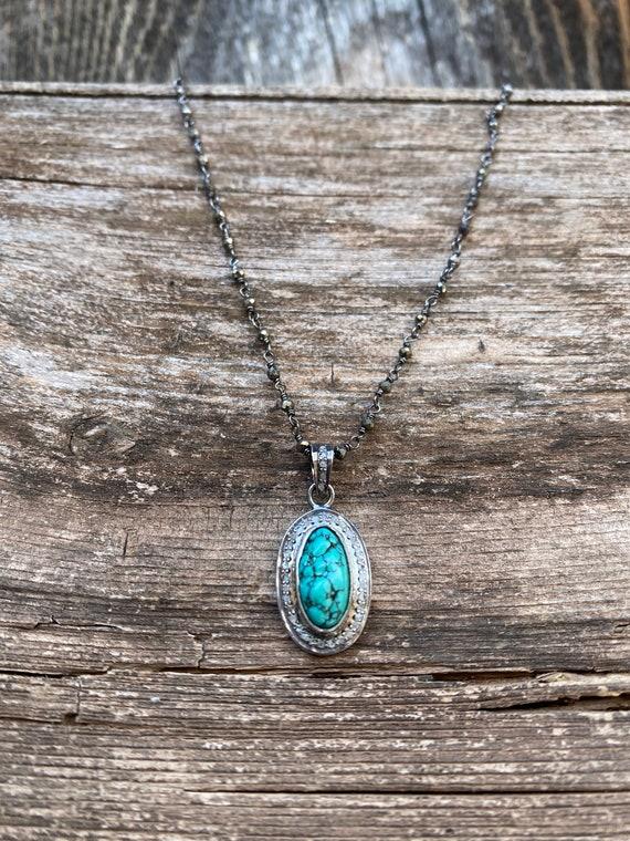 Sonoran Gold Turquoise  & diamond pendant