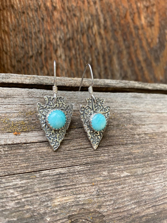 Amazonite & Sterling Silver Arrowhead Earrings