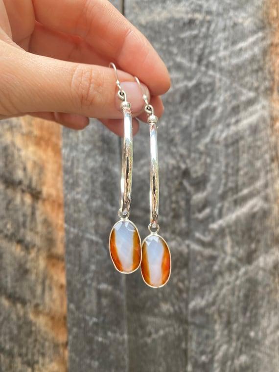 Carnelian & Sterling Silver hoop earrings
