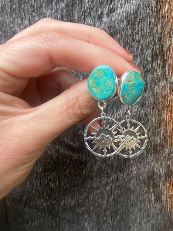 Turquoise & Sterling Silver Mountain Compass Earrings