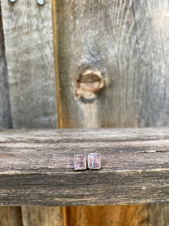 Pink Tourmaline & sterling silver Stud Earrings