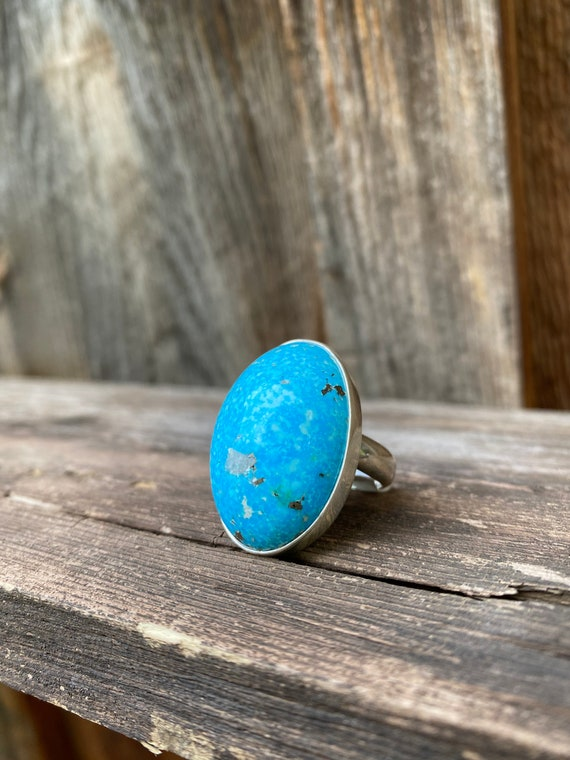 Sterling Silver & Persian Turquoise Adjustable Ring