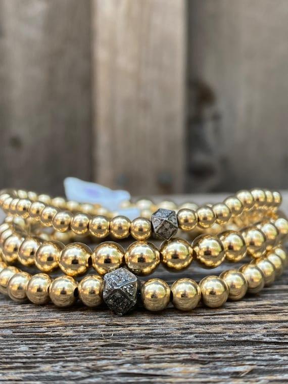 14k Gold Fill & Diamond triple stack stretch bracelets