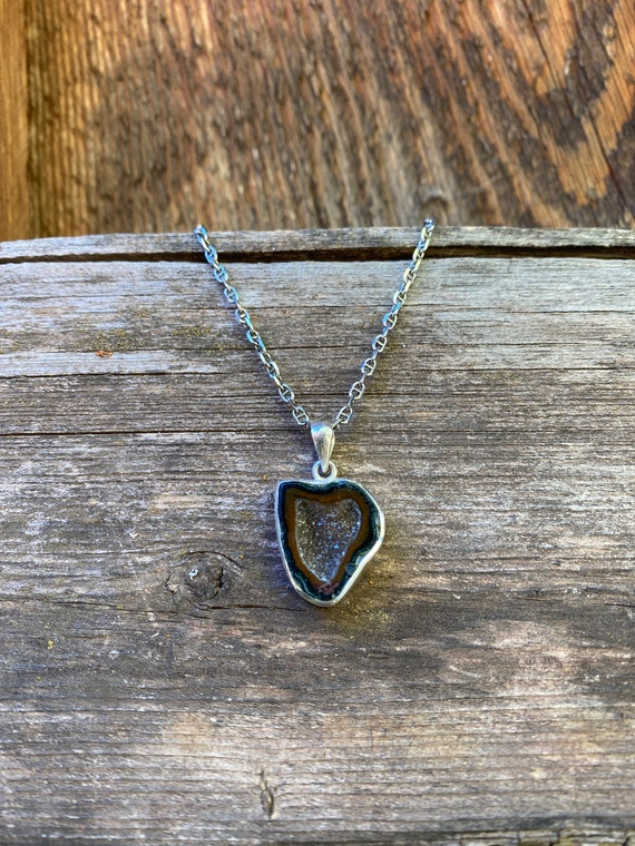 Heart shaped geode necklace on sterling chain