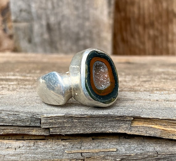 Sterling Silver & Tabasco Geode Ring Size 6