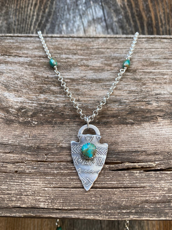 Sterling Silver & Turquoise Arrowhead Pendant on long Sterling chain.