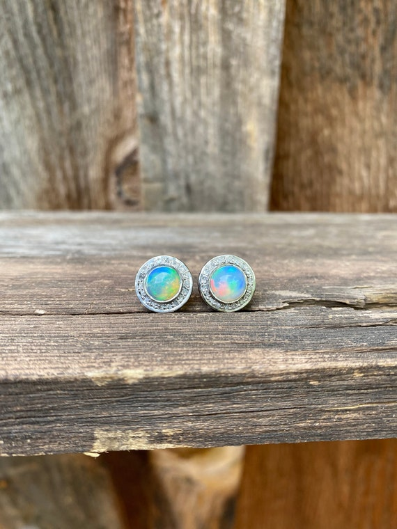 Stunning Opal & Diamond Stud Earrings