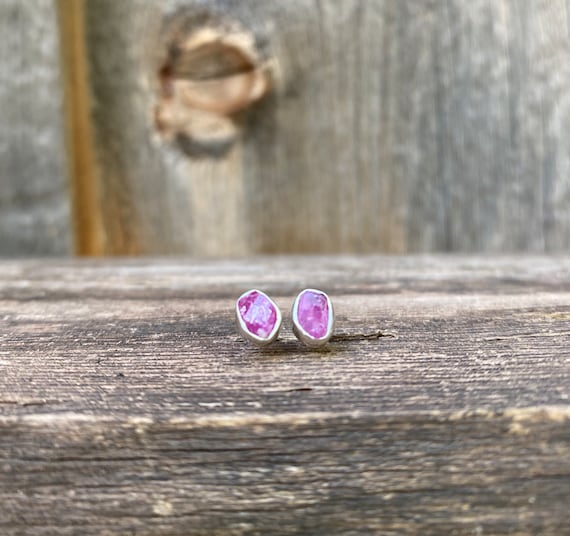 Ruby & sterling silver Stud Earrings