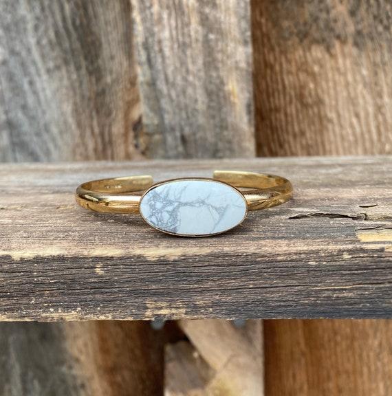 White Howlite Cuff Bracelet gold