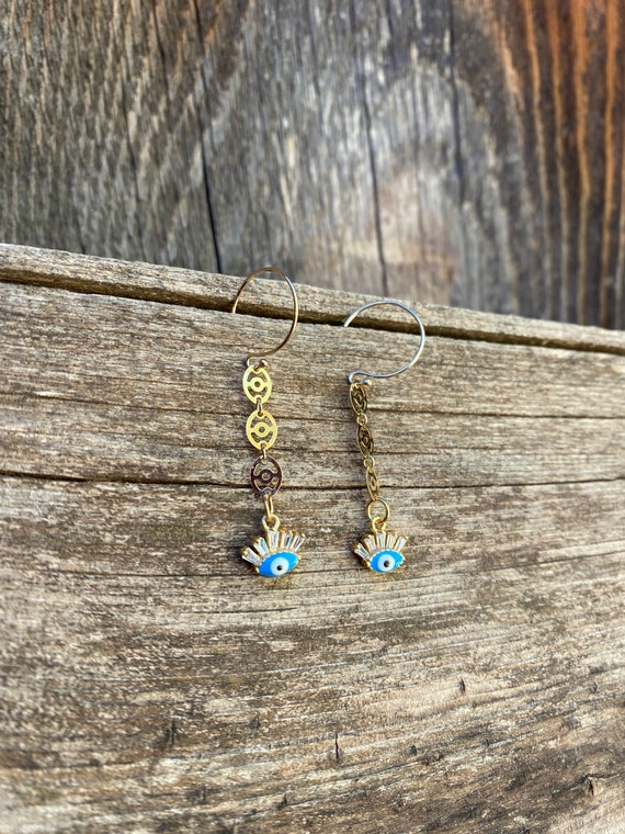 Evil Eye Enamel & gold fill earrings