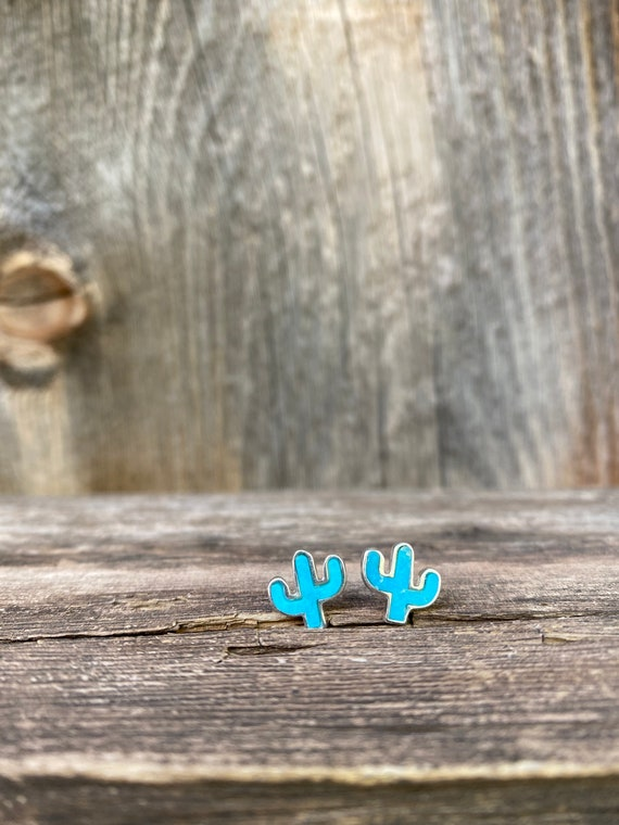 Cactus Stud Earrings in Turquoise