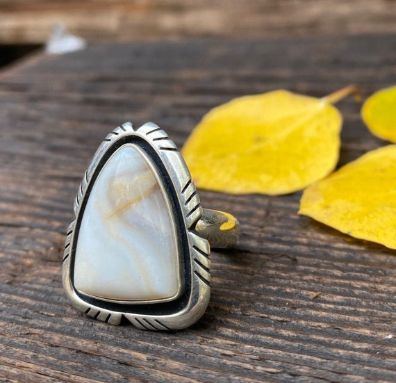 Sterling Silver & Picasso Stone Ring with adjustable band