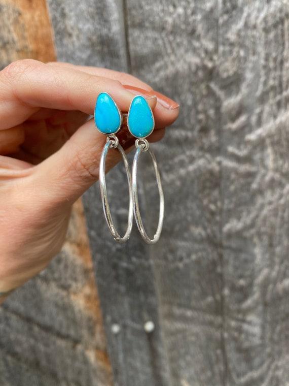 Mini Hoops- Sterling Silver Turquoise hoop earrings with studs.