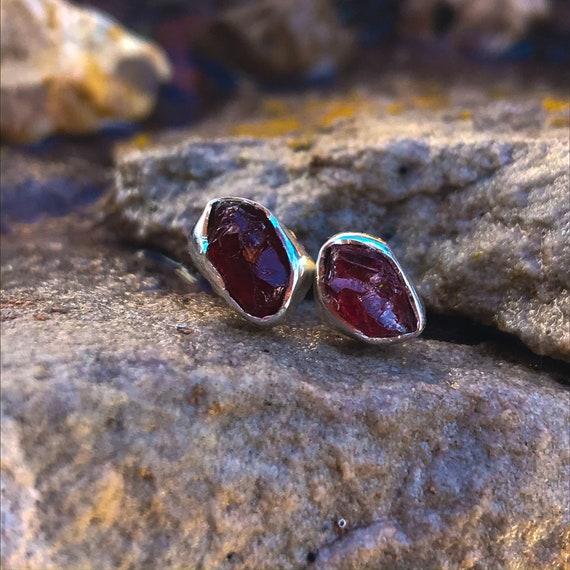 Rough-Cut Garnet Stud Earrings