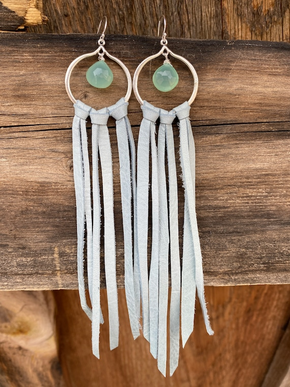 Light blue leather fringe earrings with blue green chalcedony