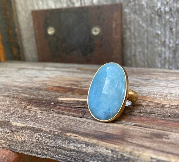 Frosty Aquamarine & Gold Alchemia Adjustable Ring